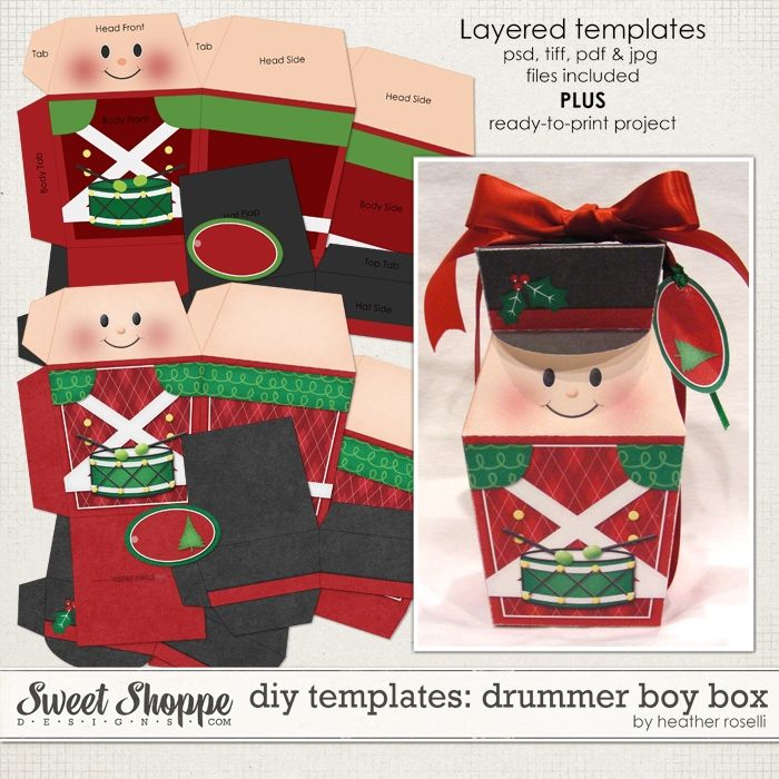 Diy Templates Drummer Boy Box By Heather Roselli Diy Paper Gift