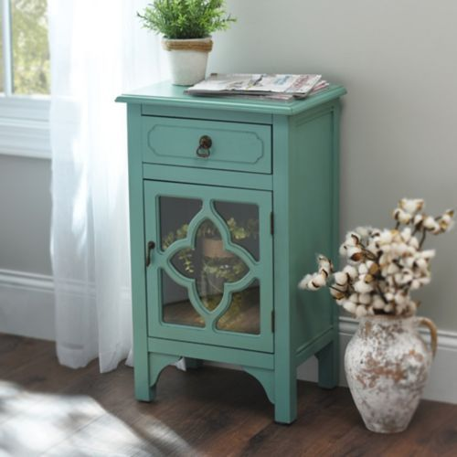 Unique Affordable Furniture: Product Details Turquoise Quatrefoil Side Table