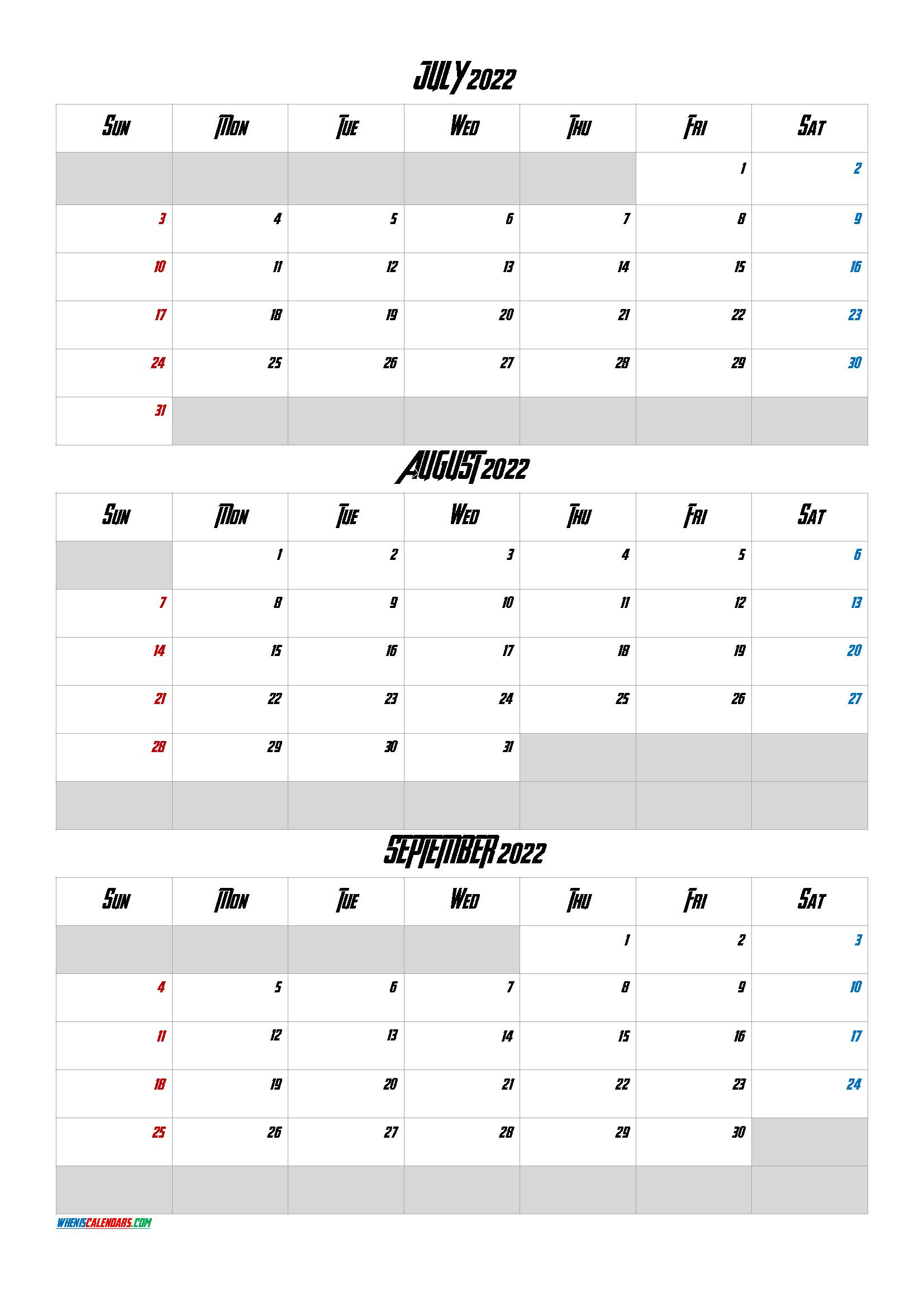 July August September 2022 Calendar Printable Q1 Q2 Q3 Q4 In 2020 Calendar Printables Printable Calendar July Printable Calendar Template