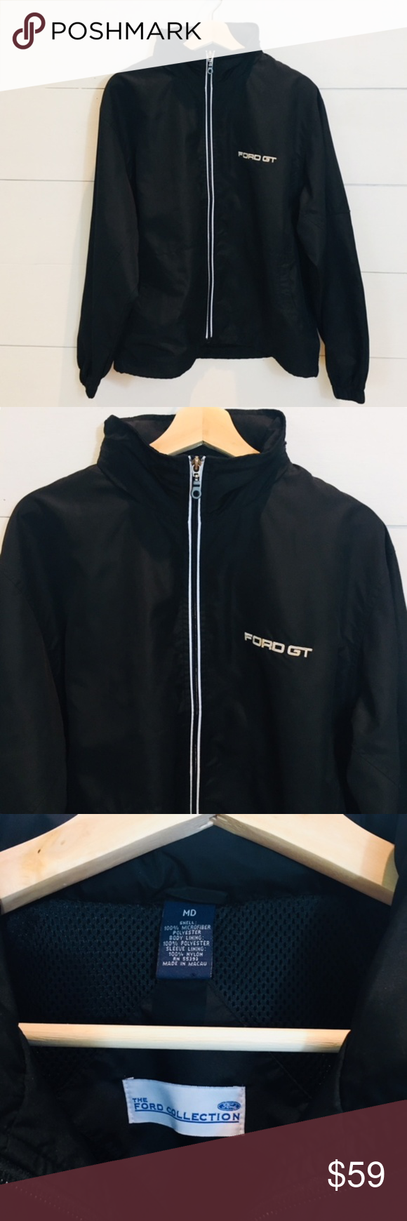 Ford Collection Gt Black Jacket Mens Medium Euc Excellent Used Condition Looks New The