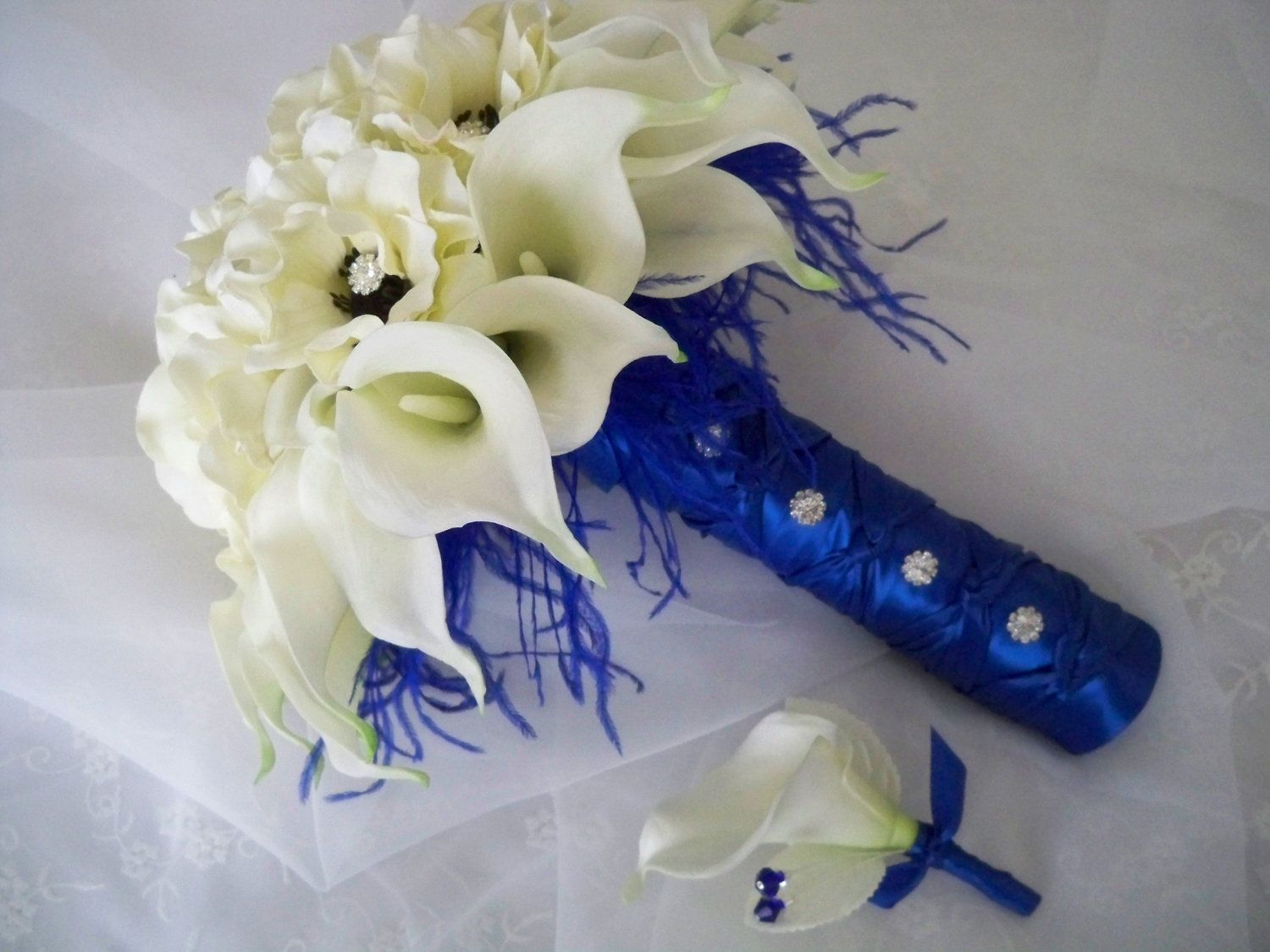 107 best floral bridal bouquet images on pinterest bridal items similar to realtouch white calla lilies and silk anemones wrapped in royal blue bridal set on etsy dhlflorist Gallery