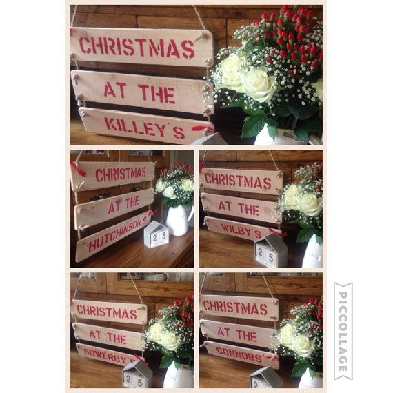 Handmade wooden \u0027Christmas at the\u0027 (your family name) sign A great