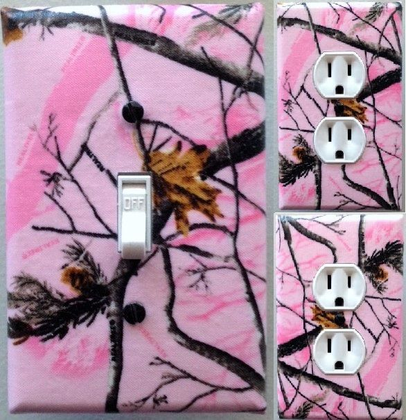 Pink realtree Camouflage  Light Switch wall plate covers bedroom decor