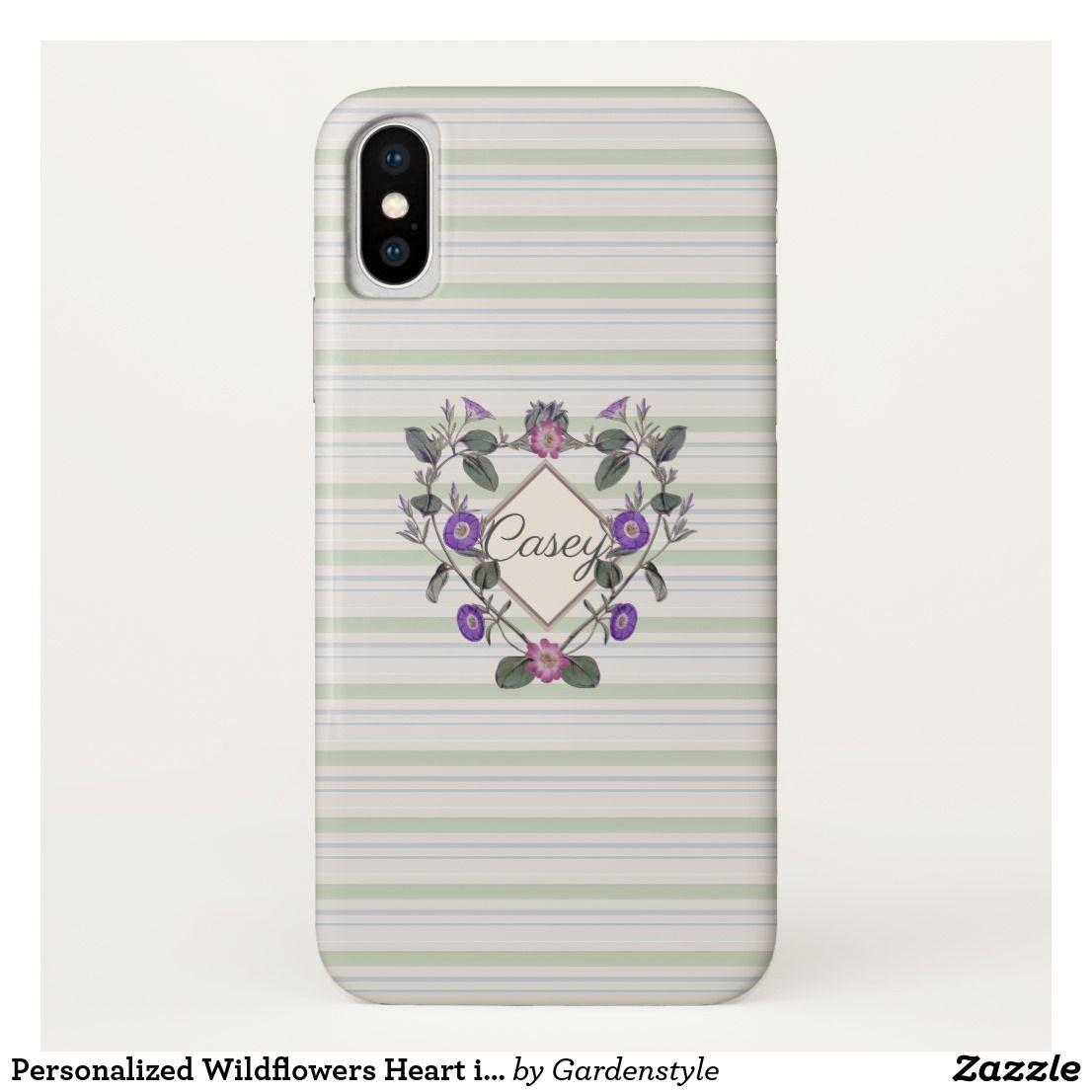 Personalized wildflowers heart iphone xs case monogram