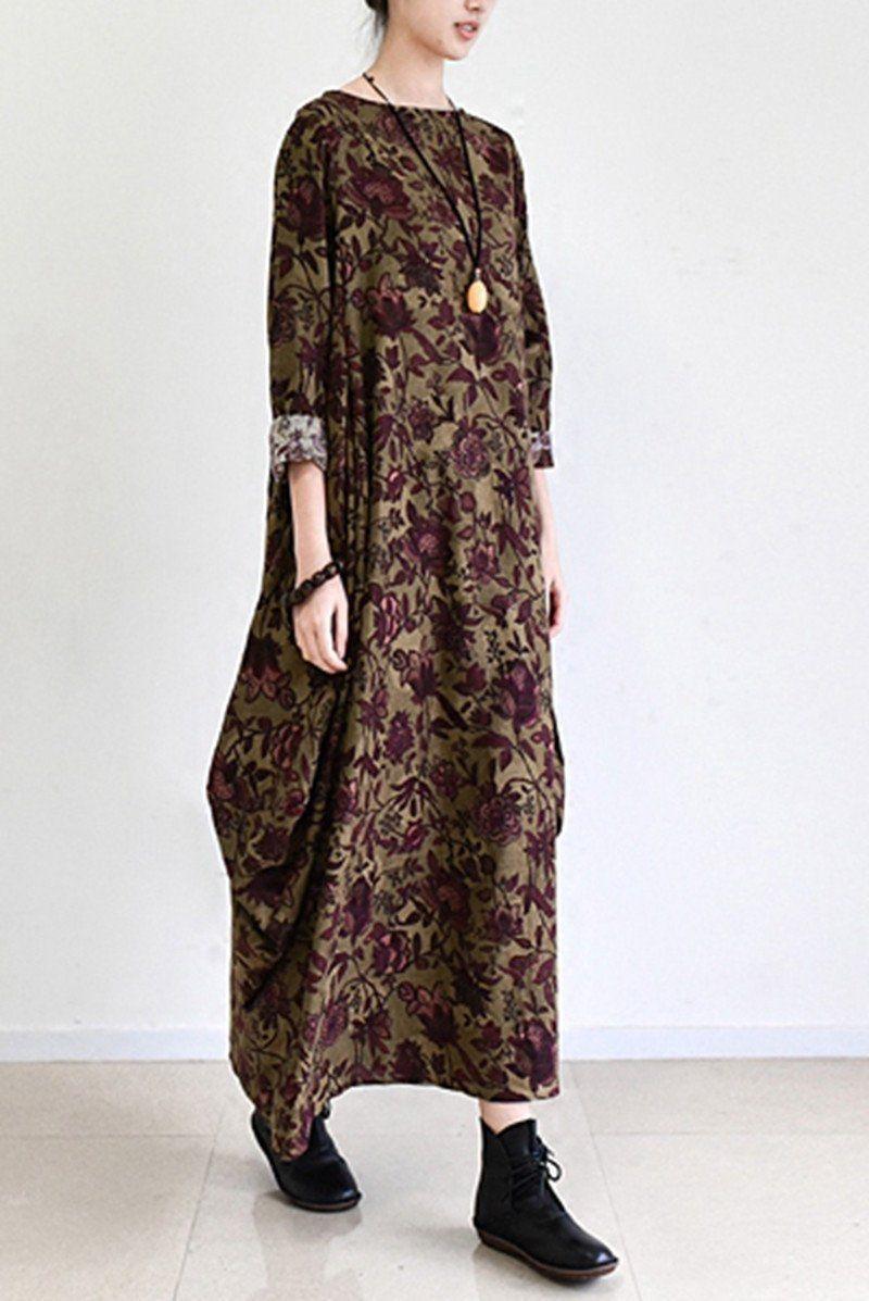 fall brown baggy long sleeve linen dresses cotton maxi dresses