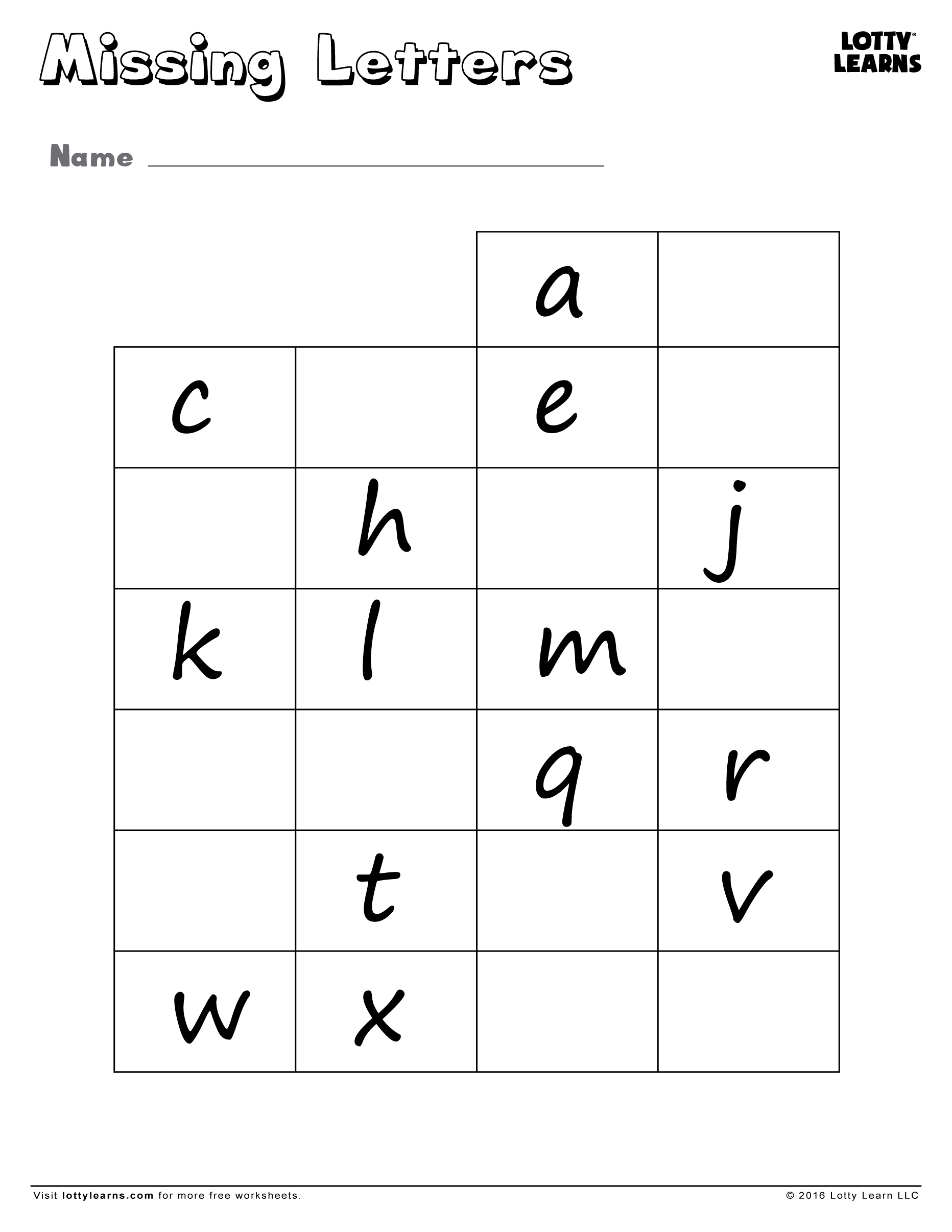 Missing Lowercase Letters Lotty Learns – Learning Abc Worksheets
