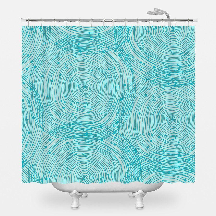Turquoise Spirals Shower Curtain Curtains Shower Curtain Spiral