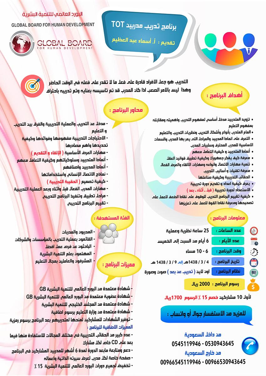 برنامج تدريب مدربين Tot In 2021 Human Development Development Flyer