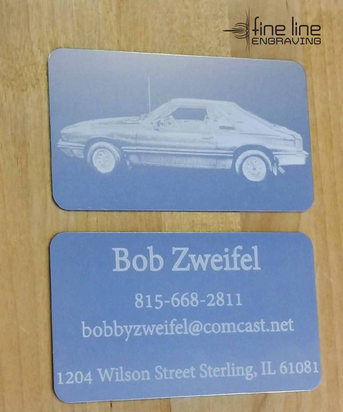 Custom anodized aluminum business card. laser engraved double ...