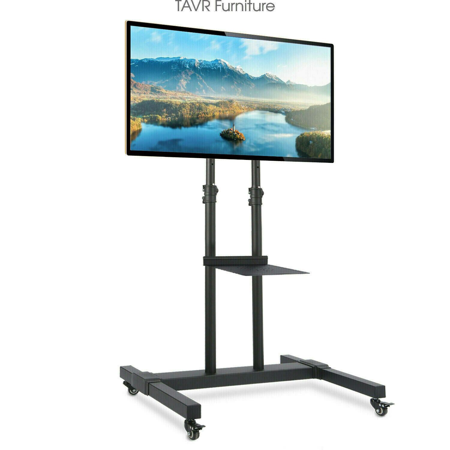 Mobile Tv Floor Stand With Tilt Mount And Wheels For 32 80 Inch