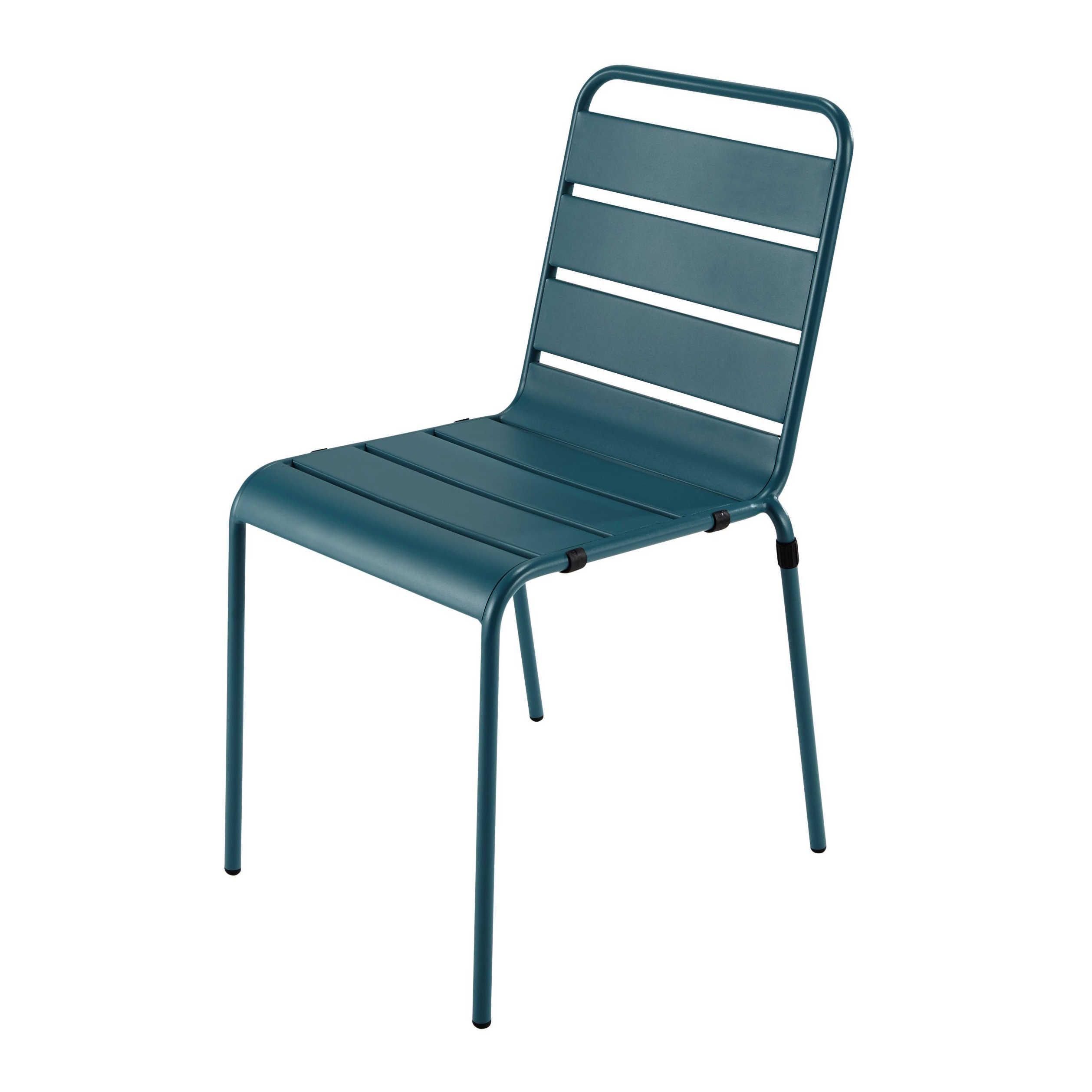 Chaise de jardin en métal bleu canard Batignolles