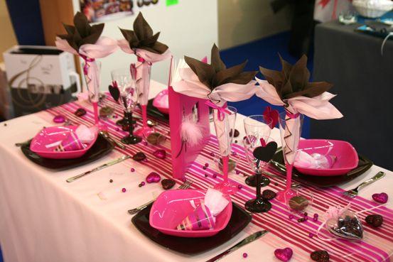 Decoration Table Mariage Rose Noir Coeur   Déco De Table