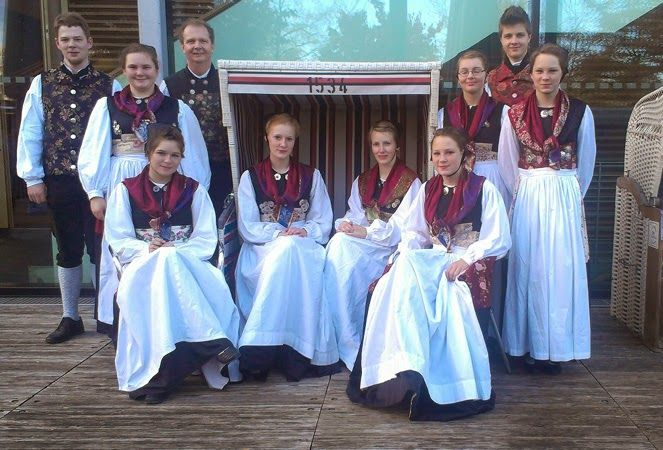 Folk Costumes of Germany. Holstein. This group is from Probstei, by Shoenberg.