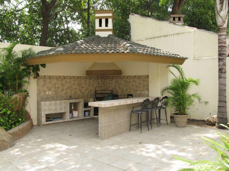 Palapa con asador equipado en patio ideas para el hogar - Patios con barbacoa ...