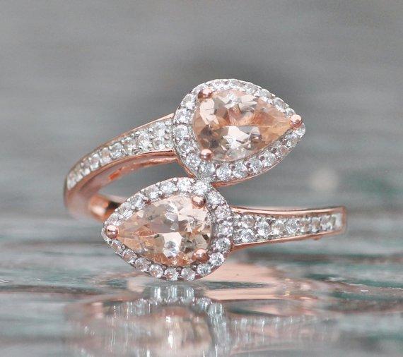 b634a67cc1f09 STUNNING Rose Gold Vermeil Morganite Bypass Ring,Pear Teardrop Halo ...