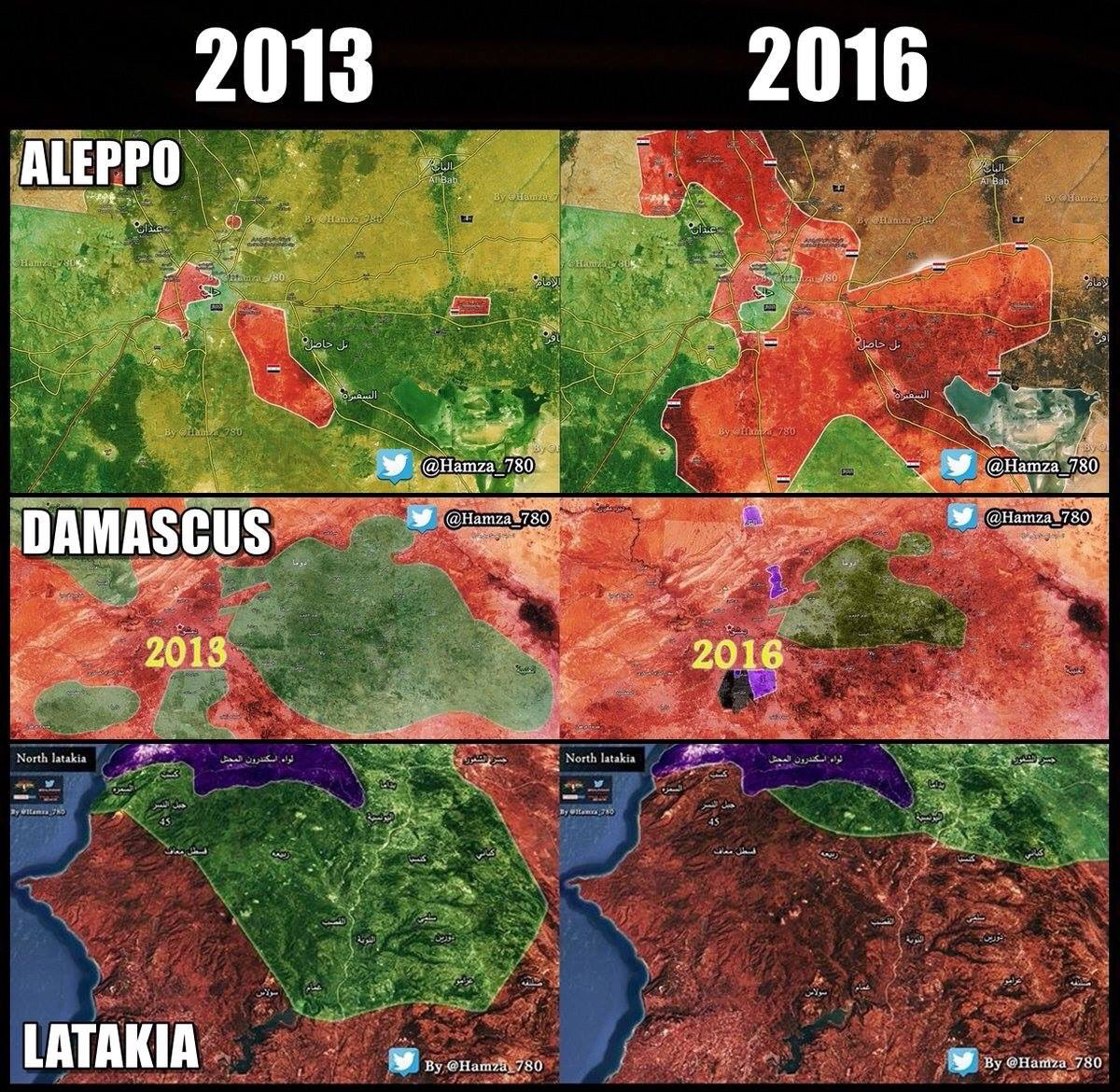 Changes from 2013 to 2016 in Aleppo
