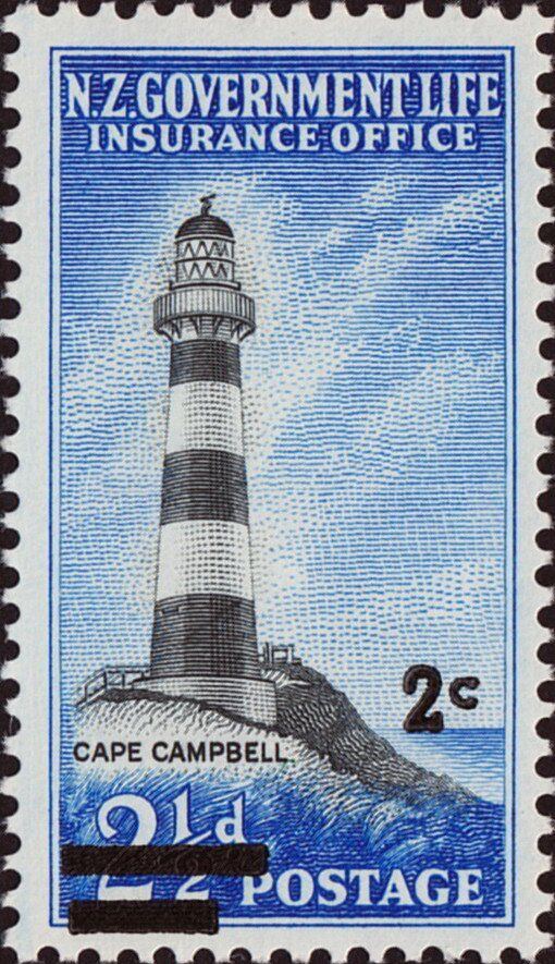 Stamp Cape Campbell Lighthouse decimal overprint (New