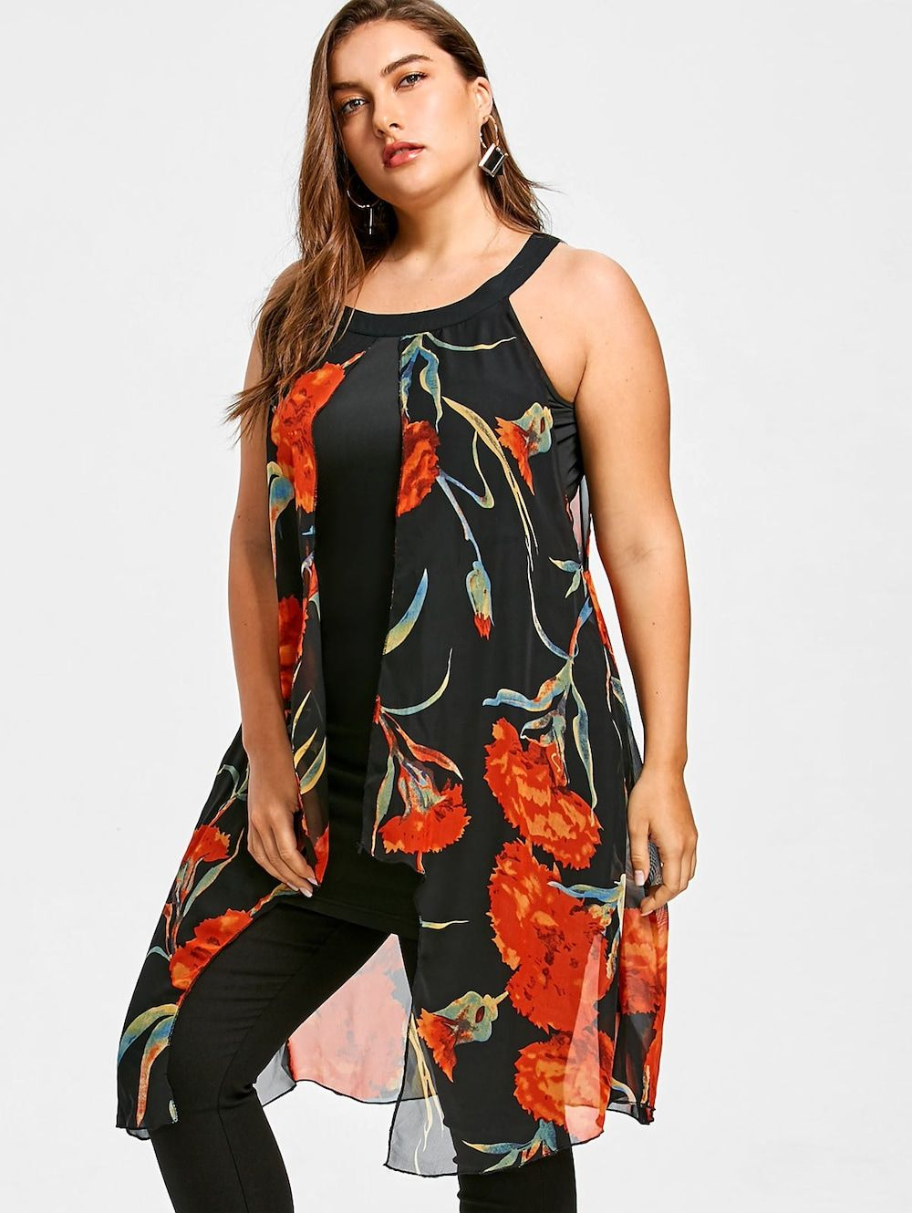 ca854fc406381 Plus Size Floral Printed Sleeveless Longline Blouse - BLACK 5X ...