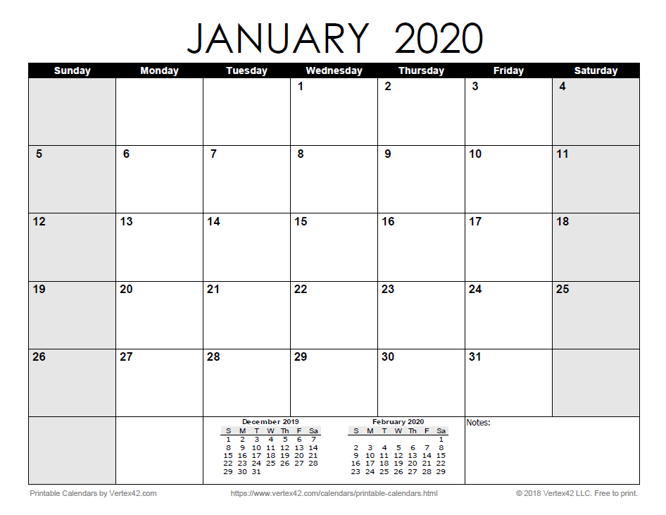 2021 printable monthly calendar january 2021 sun mon tues wed thurs fri sat 1 2 new year's day 3 4 5 6 7 8 9 10 11 12 13 14 15 16 17 18 19 20 21 22 23 Download the Printable Monthly 2020 Calendar   Calendar ...