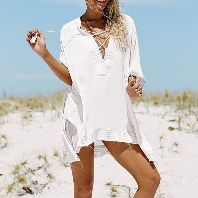 Women Silk Blend Beachwear Sarong Ladies Boho Bikini Cover up Kaftan Free Size