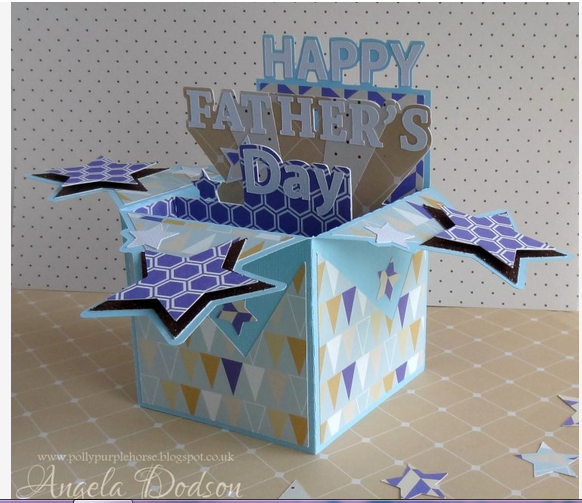 Father S Day Pop Up Box Card With True Blue Papers Pop Up Box Cards Father S Day Diy Card Box
