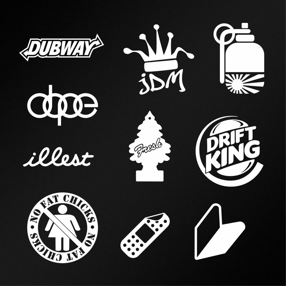 JDM Sticker Pack  White Car Body Window Bumper Vinyl Die Cut - Window stickers for cars