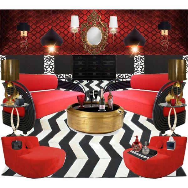 Red Velvet Gold Ribbon Boudoir Lounge Living Room By Nina Gorceac Ninamakeup5 On Polyvore