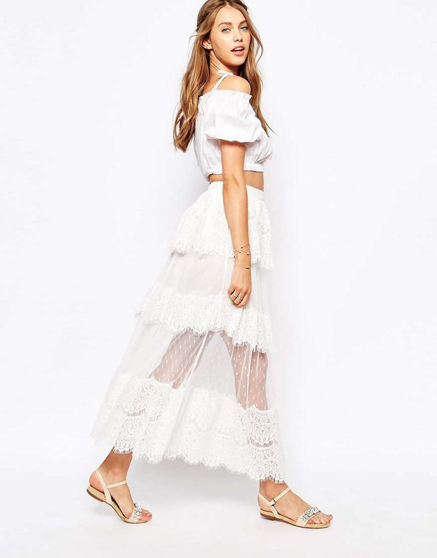 image 1 of darccy layered scallop lace maxi skirt