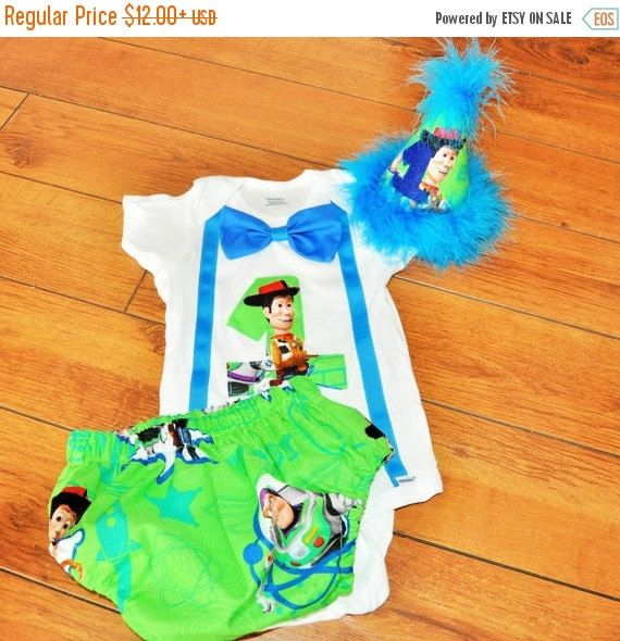 681374c9d SALE Toy Story cake smash outfit with party hat, Woody birthday outfit, 1st  2nd 3rd birthday, Boys cake smash outfit, Buzz lightyear cake s