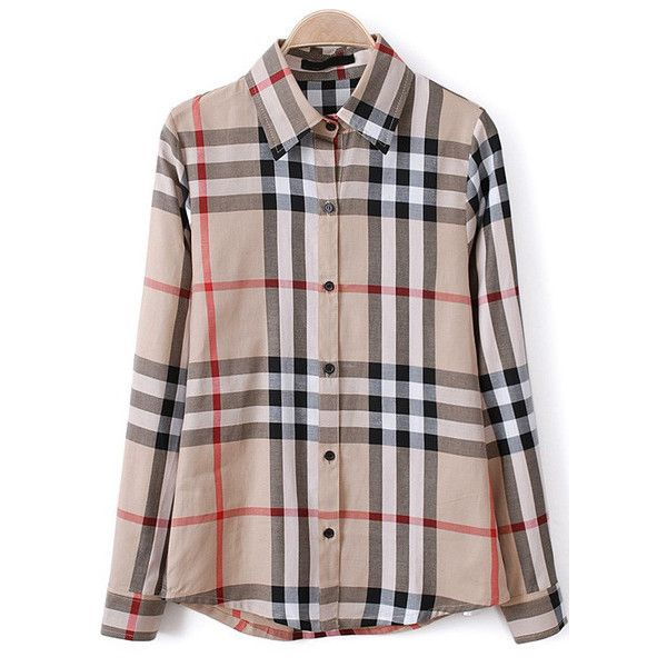 Plaid Loose Lapel Apricot Blouse ($11) ❤ liked on Polyvore featuring tops, blouses, brown top, brown blouse, plaid blouse, tartan top and loose fitting blouses