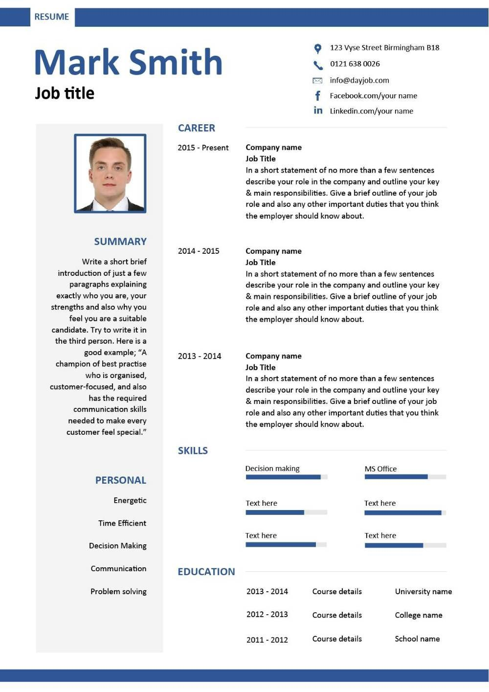 free downloadable cv template exles career advice how to