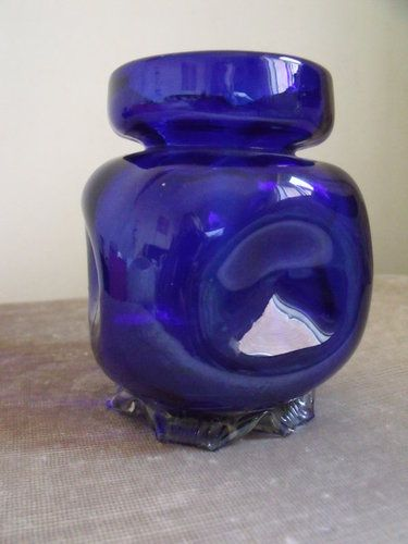 Antique Victorian Bristol Blue Glass Hyacinth Vase Bulb Forcer