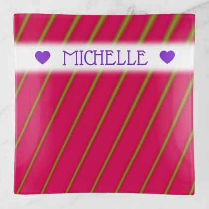 Customizable Name Green Lines On Crimson Pattern Trinket Trays