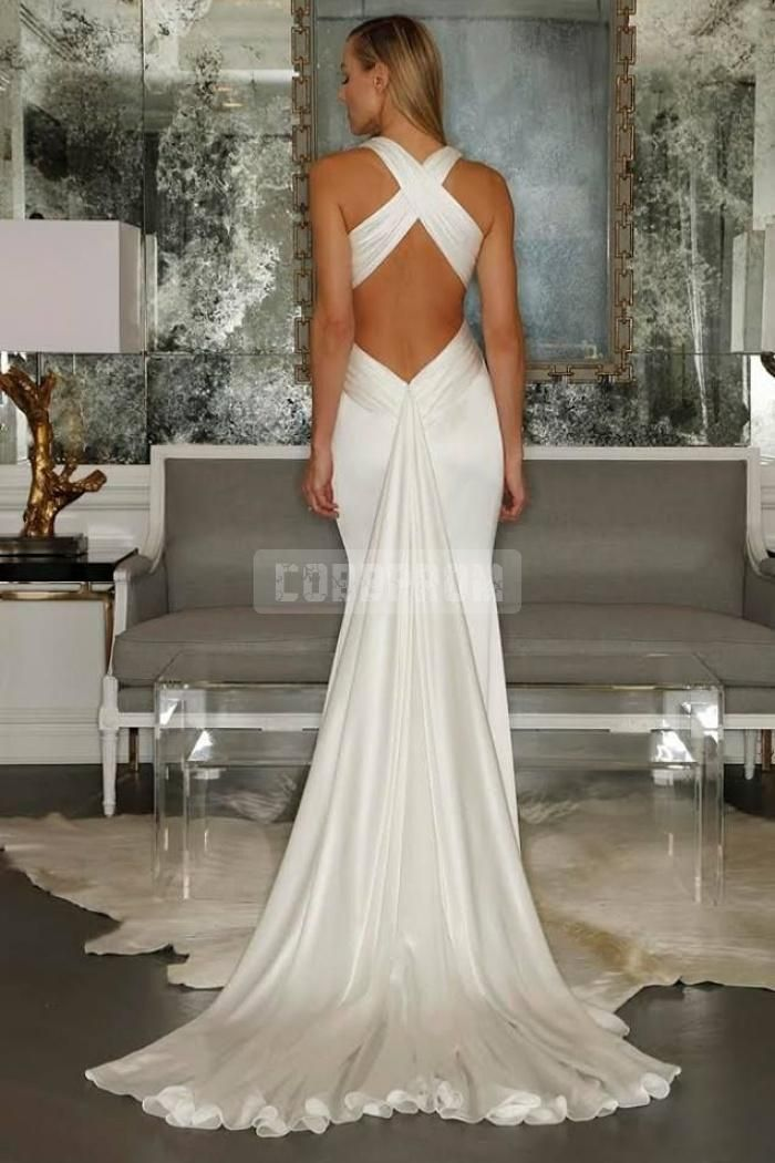 Simple Plunging Mermaid Criss Cross Back Wedding Dress Cobbprom