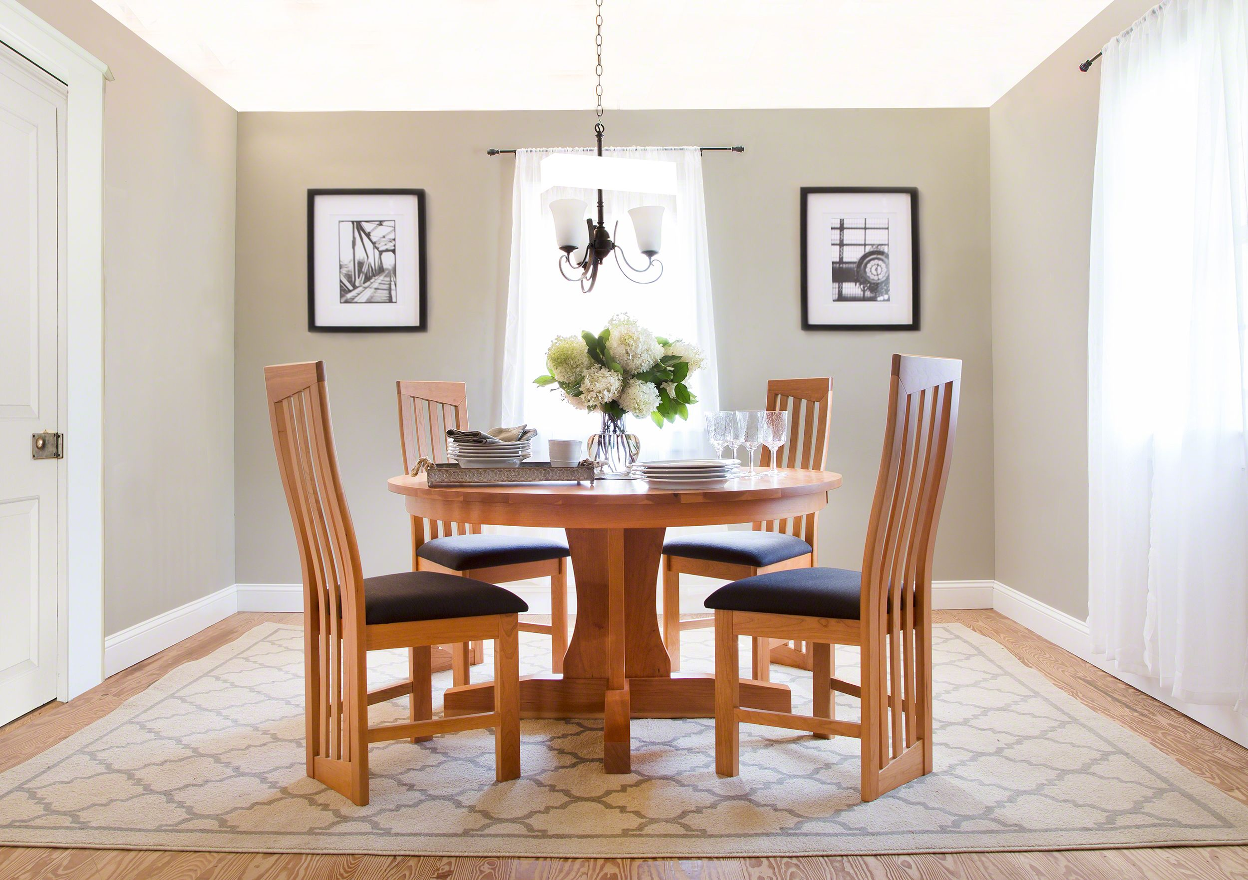 Our New Traditions Round Pedestal Table Is A Great Space Saver For Any  Small Dining Area. Pair It With Our Modern High Back Chairs And Create A  Great New ...