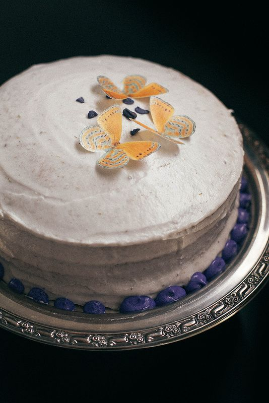 Lemon Poppyseed Layer Cake with Lavender Frosting & Lemon Curd