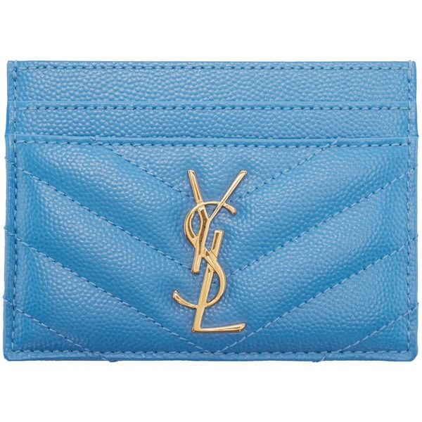 Saint Laurent Blue Leather Monogram Card Holder (4,115 MXN) ❤ liked on Polyvore featuring bags, wallets, credit card holder wallet, monogrammed leather wallet, embossed wallet, real leather wallet and card holder wallet