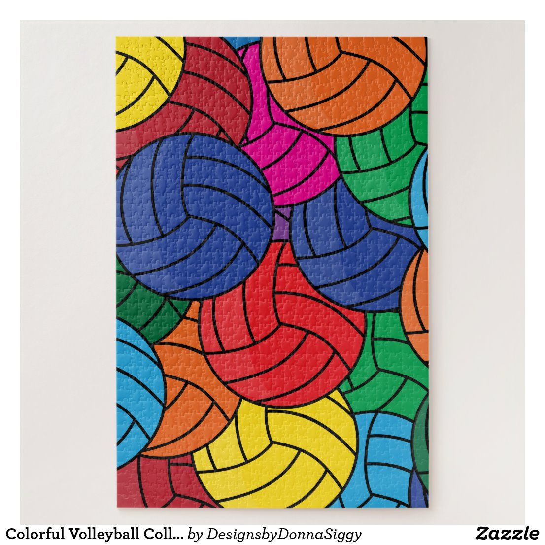 Colorful Volleyball Collage Jigsaw Puzzle Zazzle Com Family Game Night Custom Puzzle Jigsaw Puzzles