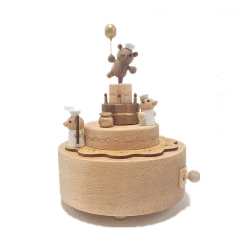Clockwork Music Box Carousel Creative Birthday Gift Wooden Music Box