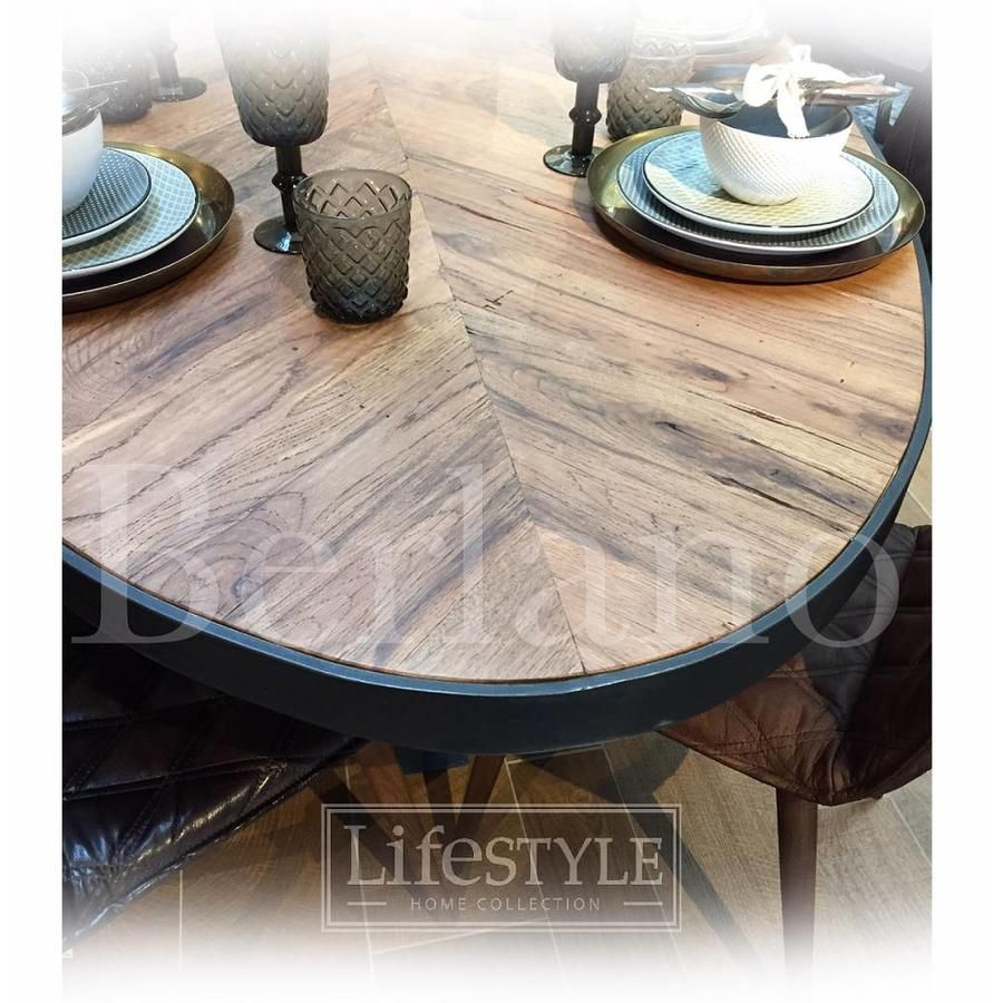 Grote Tuintafel Metaal Hout.Lifestyle Macon Dining Table Oval 250 Grote Tafel Ovaal