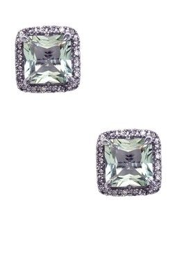 14K White Gold Green Amethyst & Diamond Pave Post Earrings