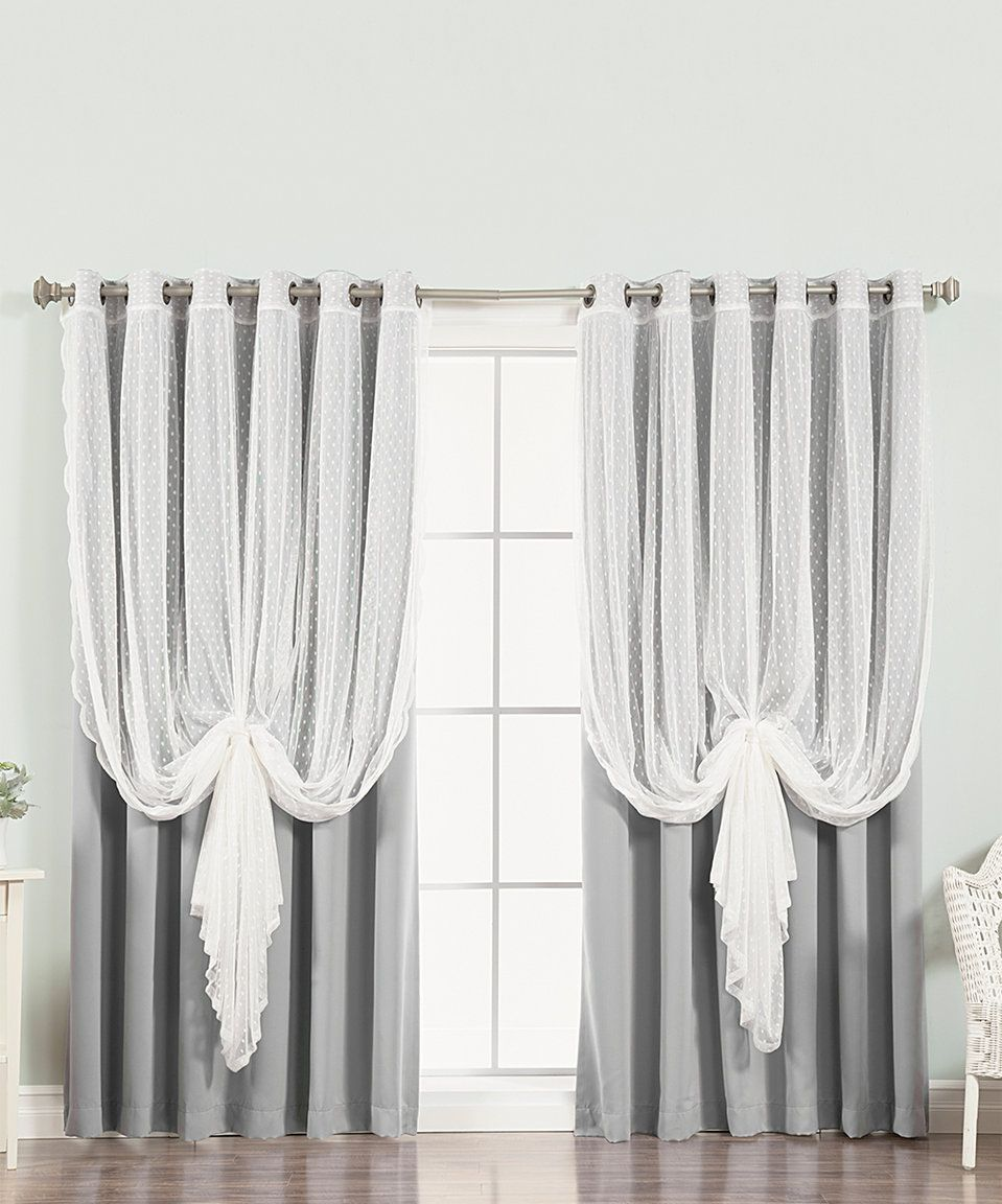 This Gray Dotted Tulle Lace Blackout Curtain Panel