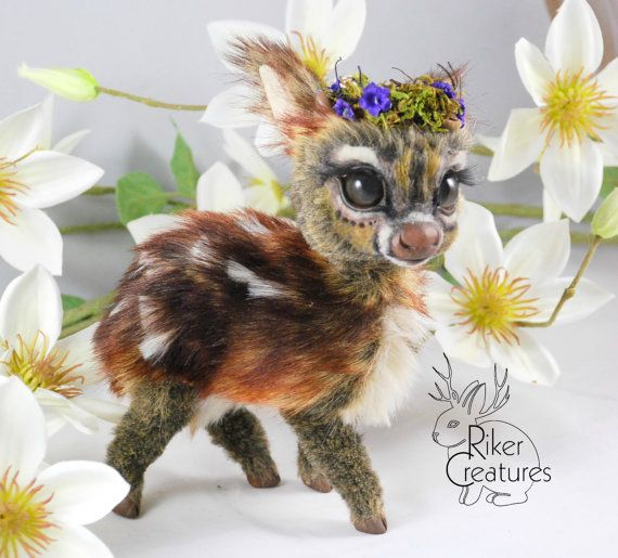 SOLD  Teacup Fawn  Poseable Fantasy Art-Doll by RikerCreatures