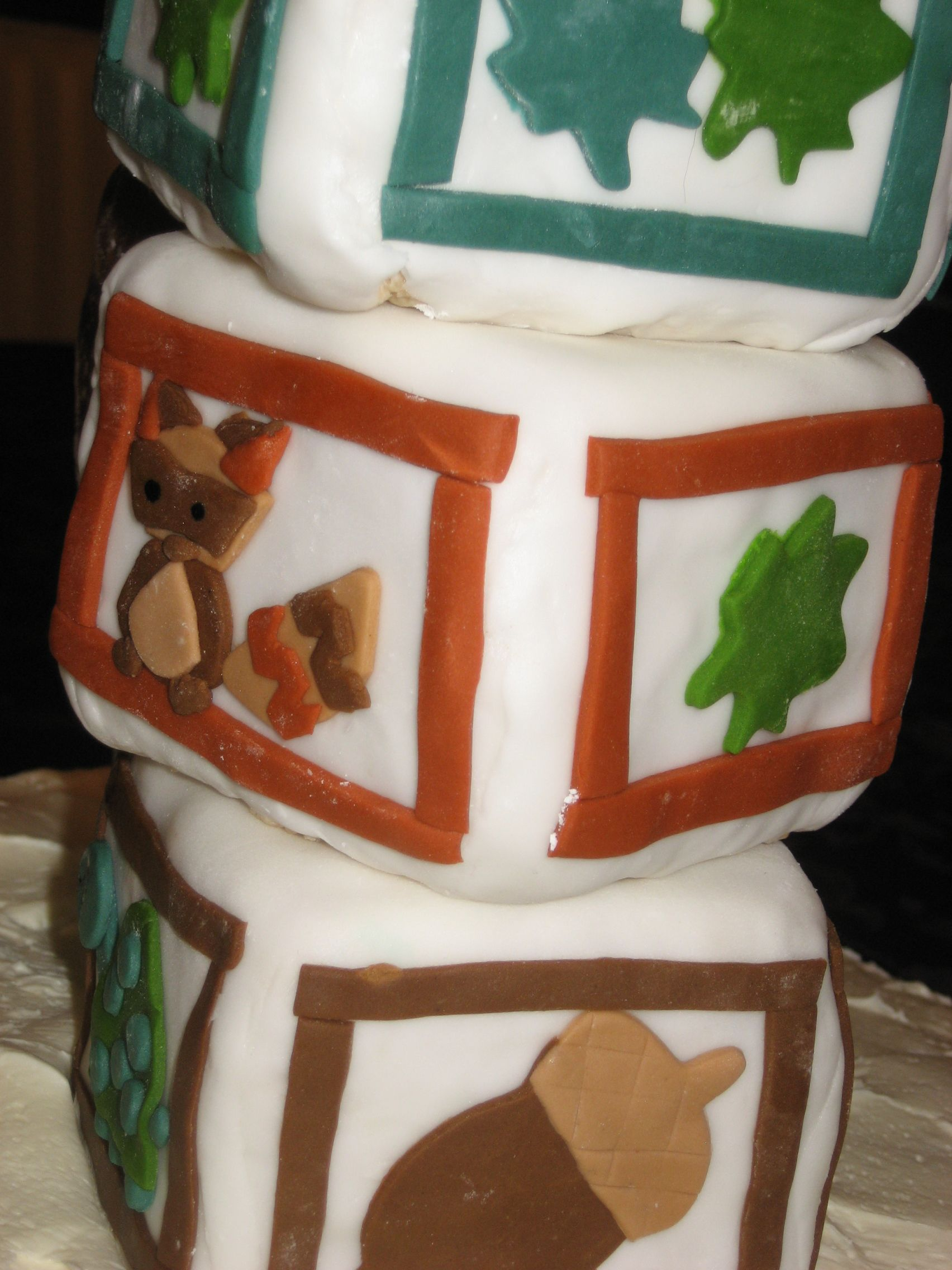 The back of the woodland baby cake