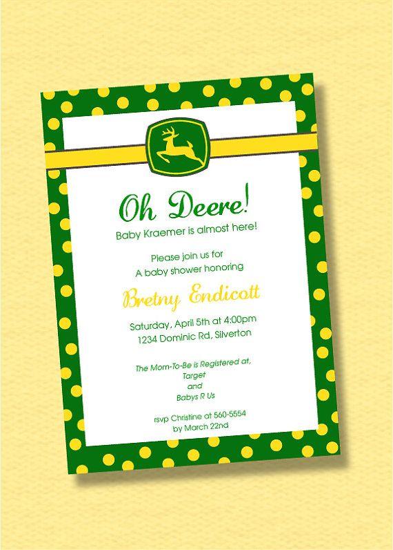 John Deere Baby Shower Invitation Custom Baby By Trinedesign 12 00