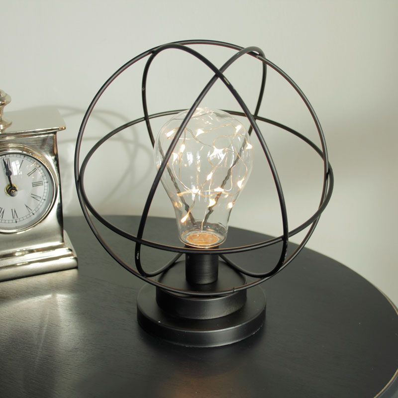 Atom Light Bulb LED Lamp Made from metal in black This
