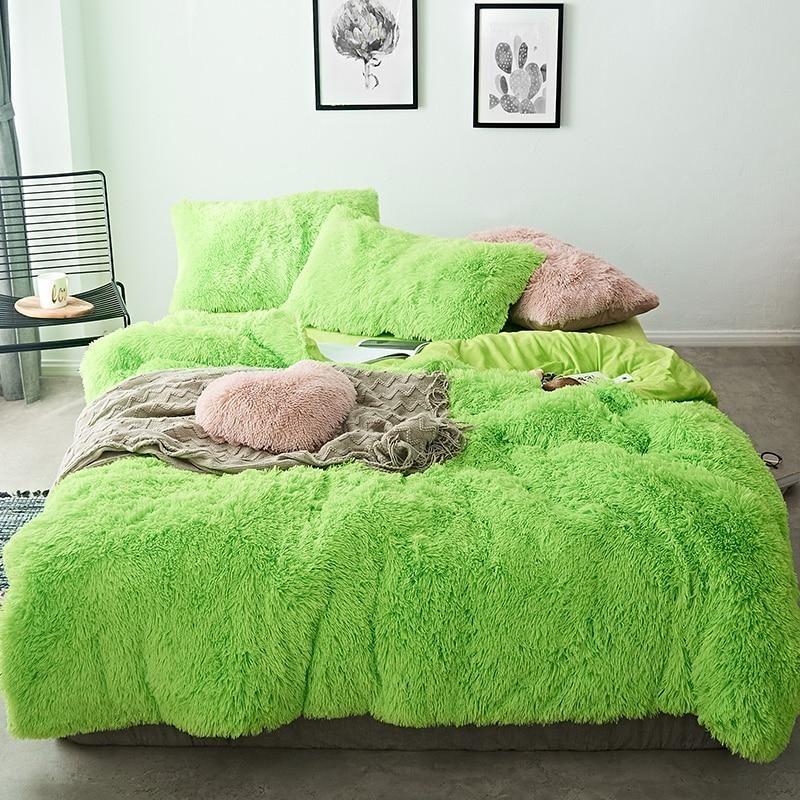 Fluffy Velvet Fleece Quilt Cover Bed Set 4 6 7 Pcs Lime Green Velvet Bedding Sets Bedding Sets Bed Linens Luxury