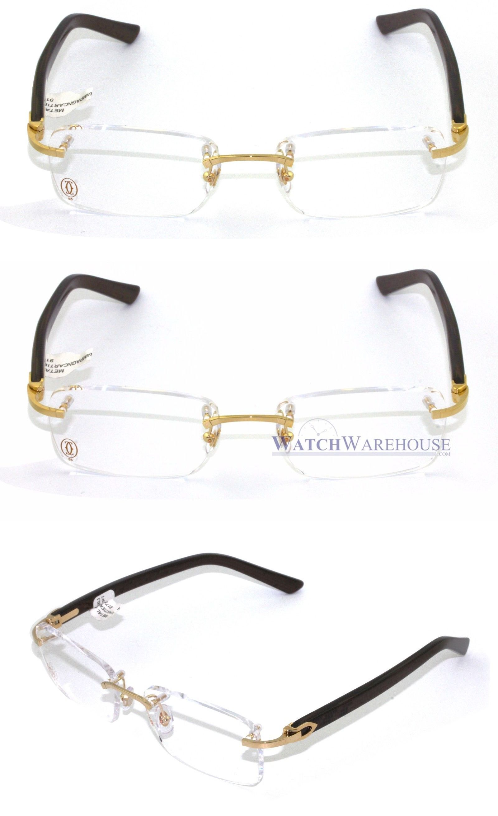 a00fb6cb4f6e Fashion Eyewear Clear Glasses 179244: Cartier C Decor Rectangular Brown  Composite Rimless Men Optical Glasses T8100928 -> BUY IT NOW ONLY: $728 on  eBay!