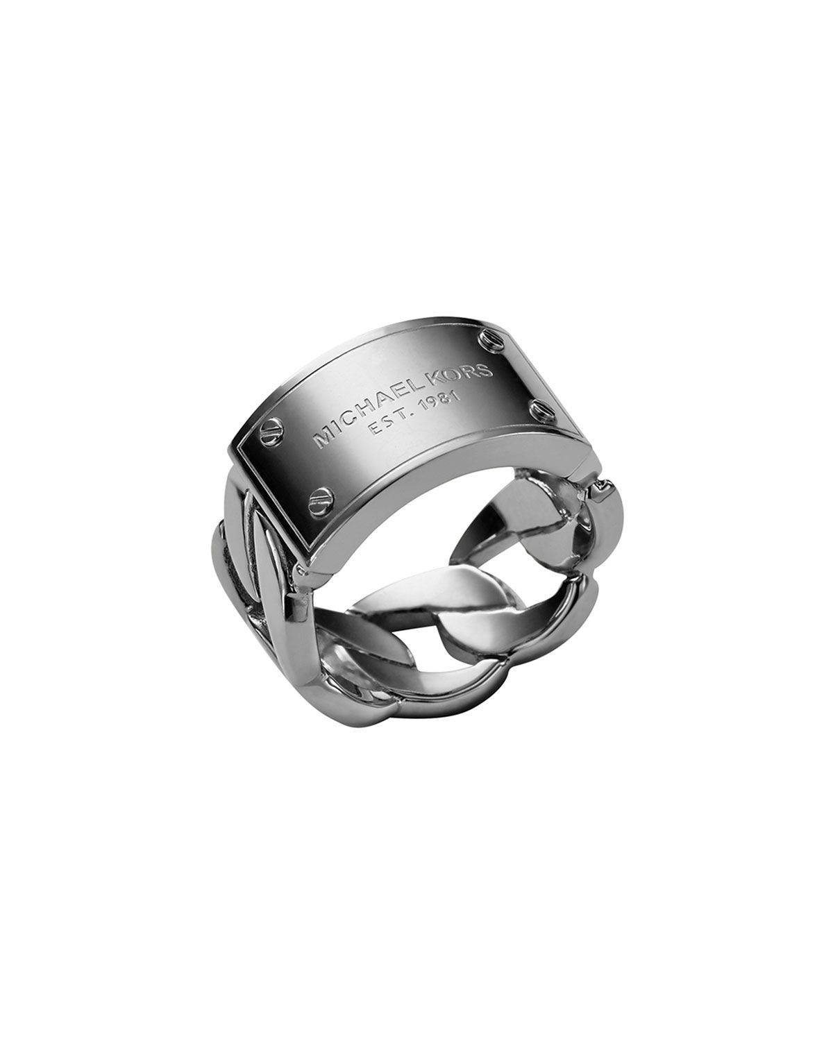 Michael Kors Curb-Chain Logo Ring, Silver Color