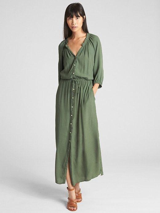 eb89557819c Gap Womens Drapey Maxi Dress Jungle Green